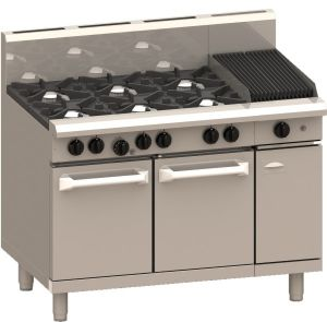 LUUS 'Professional' 6 Burner with 300mm wide Barbecue and Static Oven