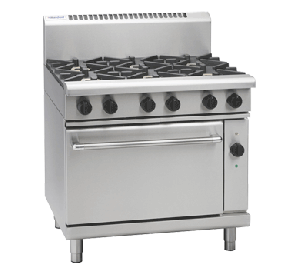Waldorf '800 Series' 900mm wide 6 Burner with Electric Convection Oven RN8610GEC