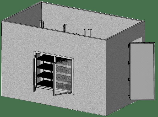 Supermarket coolroom freezer-room for stock